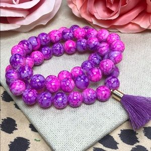 Jewelry - Neon Pink and Purple Gemstone Stacking Bracelets